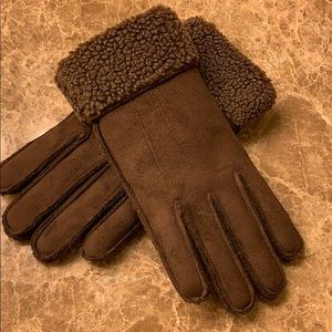 Lands' End faux suede shearling gloves